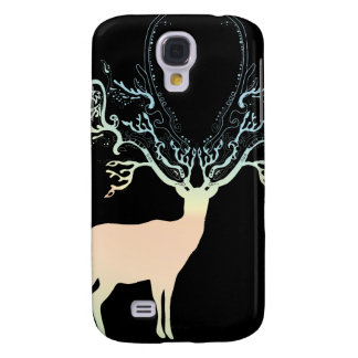 Soft Yellow Blue Pastel Color Silhouette Deer Samsung Galaxy S4 Cover
