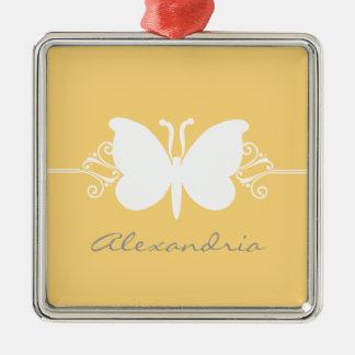 Soft Yellow Butterfly Swirls Premium Ornament