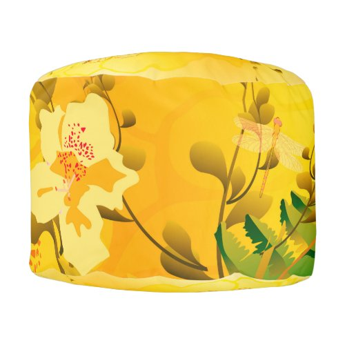 Soft yellow flowers round pouf