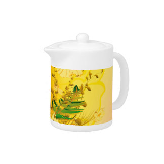 Soft yellow flowers teapot