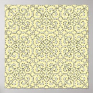 Soft Yellow Geometric Lace Poster