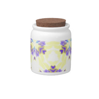 Soft Yellow Lavender Fractal Seamless Pattern Candy Jar