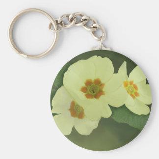 Soft Yellow Primrose Flowers Keychain