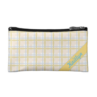 Soft Yellow with Light blue Tartan Striped pattern Cosmetic Bag