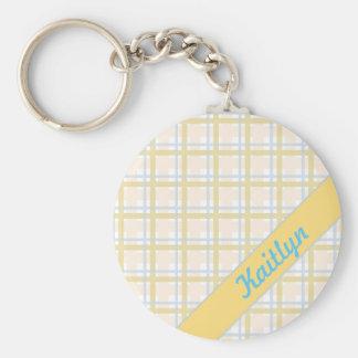 Soft Yellow with Light blue Tartan Striped pattern Keychain
