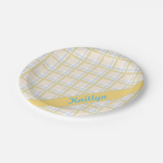 Soft Yellow with Light blue Tartan Striped pattern Paper Plate