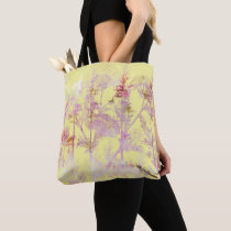 Soft Yellow with Pink Flowers Tote Bag