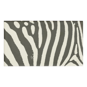 Soft Zebra Print Modern Contemporary Name Tag