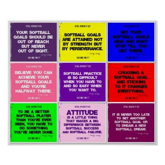 Softball 9 Color Quote Collage Poster