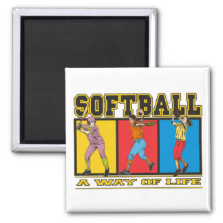 Softball A Way of Life 2 Inch Square Magnet