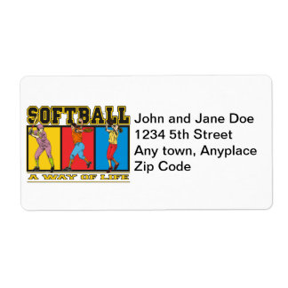 Softball A Way of Life Shipping Label