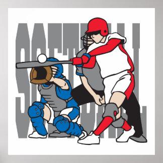 Softball Action Poster