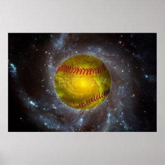 Softball adaptable en poster galáctico del espacio póster