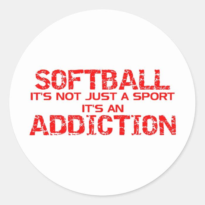 Softball Addiction Classic Round Sticker