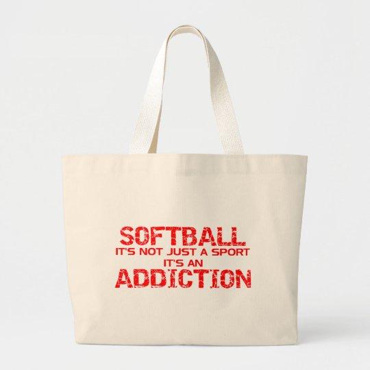 Softball Addiction Large Tote Bag