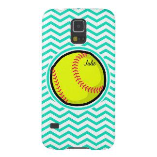 Softball; Aguamarina Chevron verde Carcasa De Galaxy S5