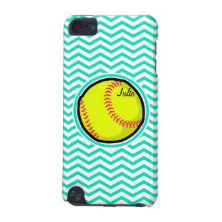 Softball; Aguamarina Chevron verde Funda Para iPod Touch 5G