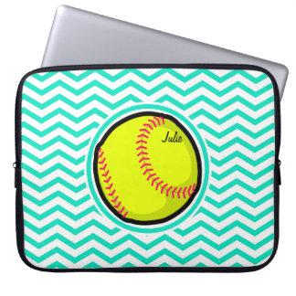 Softball; Aguamarina Chevron verde Fundas Ordendadores