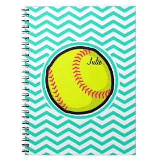 Softball; Aguamarina Chevron verde Spiral Notebooks