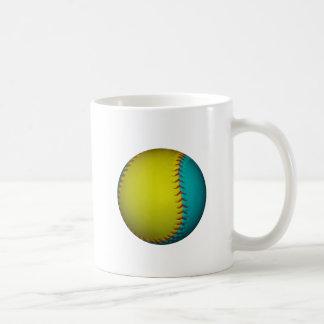 Softball amarillo azul claro y brillante taza