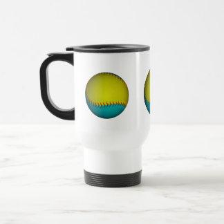Softball amarillo azul claro y brillante taza de café