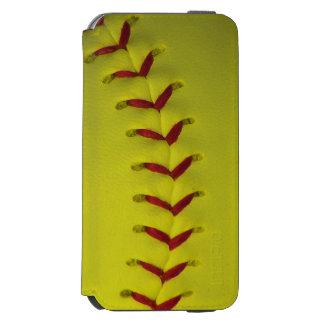 Softball amarillo brillante de encargo funda billetera para iPhone 6 watson