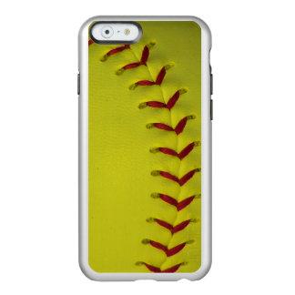 Softball amarillo brillante de encargo funda para iPhone 6 plus incipio feather shine