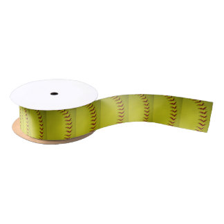 Softball amarillo brillante de encargo lazo de raso