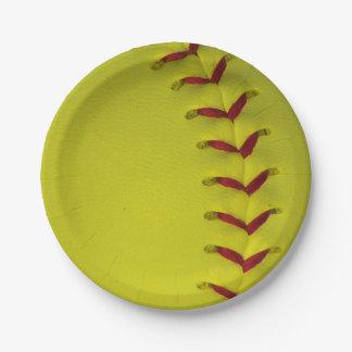 Softball amarillo brillante de encargo plato de papel de 7 pulgadas