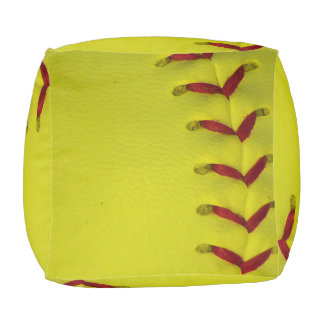 Softball amarillo brillante de encargo pouf cuadrado