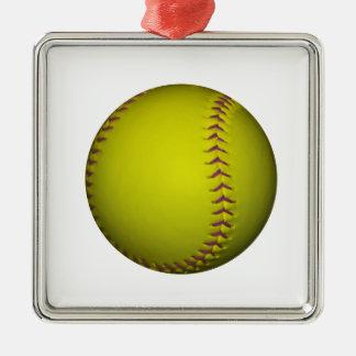 Softball amarillo con las puntadas púrpuras adorno navideño cuadrado de metal