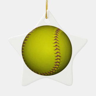 Softball amarillo con las puntadas púrpuras adorno navideño de cerámica en forma de estrella