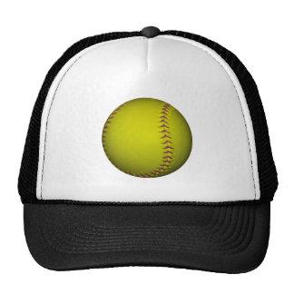 Softball amarillo con las puntadas púrpuras gorras de camionero
