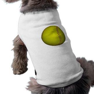 Softball amarillo con las puntadas púrpuras playera sin mangas para perro