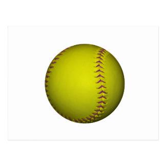 Softball amarillo con las puntadas púrpuras tarjetas postales