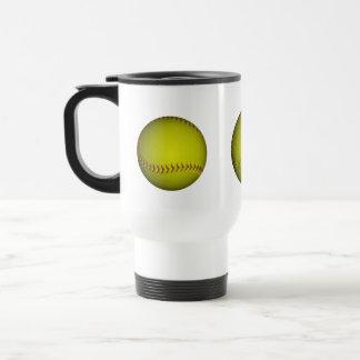Softball amarillo con las puntadas púrpuras tazas de café