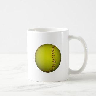 Softball amarillo con las puntadas púrpuras taza