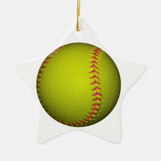 Softball amarillo con las puntadas rosadas adorno navideño de cerámica en forma de estrella