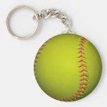 Softball amarillo con las puntadas rosadas llavero