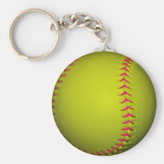 Softball amarillo con las puntadas rosadas llavero redondo tipo pin