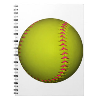 Softball amarillo con las puntadas rosadas notebook