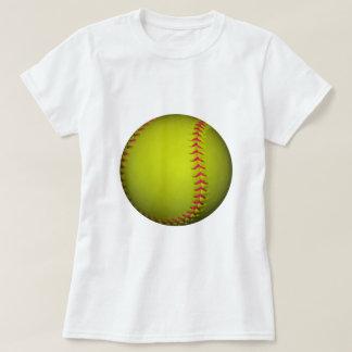 Softball amarillo con las puntadas rosadas poleras