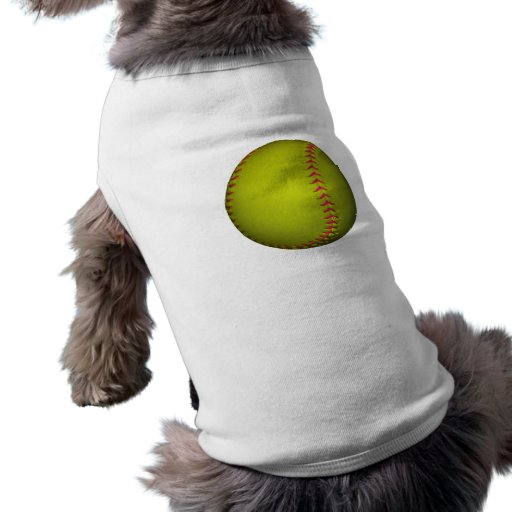 Softball amarillo con las puntadas rosadas prenda mascota