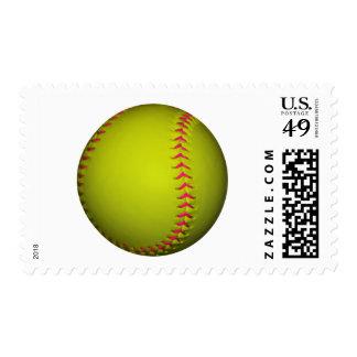 Softball amarillo con las puntadas rosadas sellos
