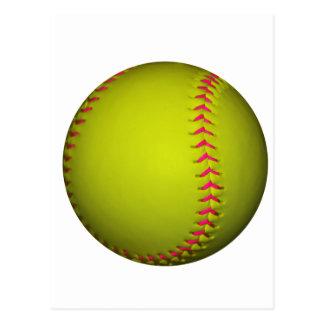 Softball amarillo con las puntadas rosadas postal