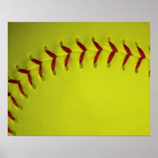Softball amarillo de Dayglo Poster