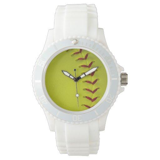 Softball amarillo de Dayglo Relojes De Pulsera