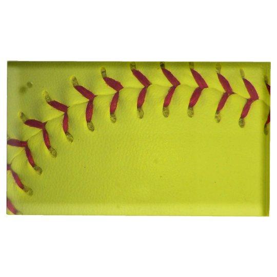 Softball amarillo de Dayglo Soporte Para Tarjeta De Mesa