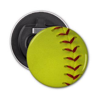 Softball amarillo de neón abrebotellas redondo