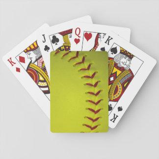 Softball amarillo de neón cartas de juego